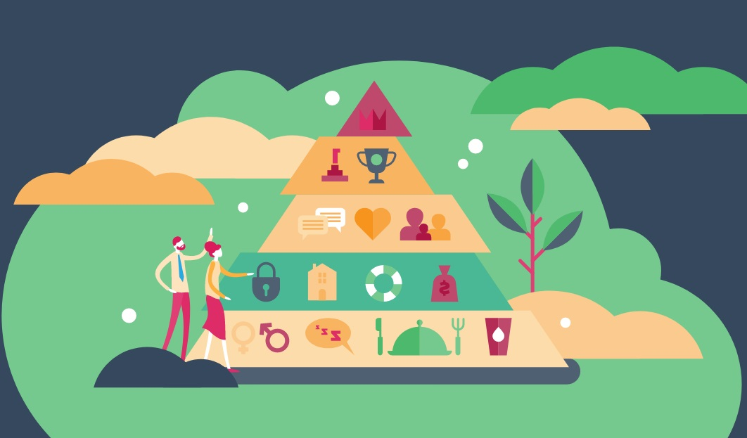 Las necesidades de la pirámide de Maslow ilustradas